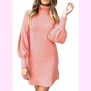 Dresses & Skirts - 🆕Turtleneck Dress Puff Long Sleeve Pullover Dress